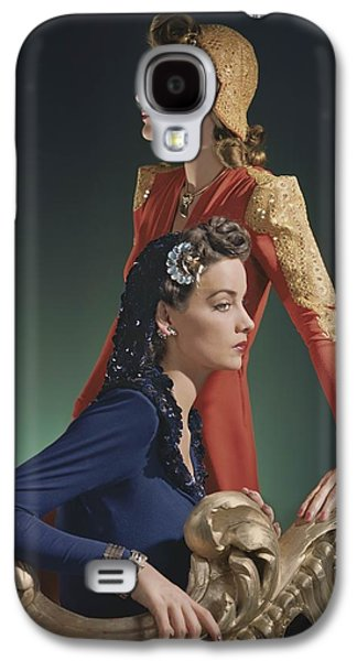 Ball Gown Galaxy S4 Cases - Two Models, One Standing, In Red Silk Galaxy S4 Case by Conde Nast