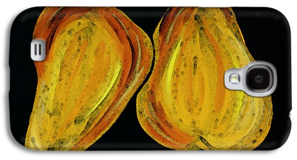 Food And Beverage Mixed Media Galaxy S4 Cases - Two Pears - Yellow Gold Fruit Food Art Galaxy S4 Case by Sharon Cummings