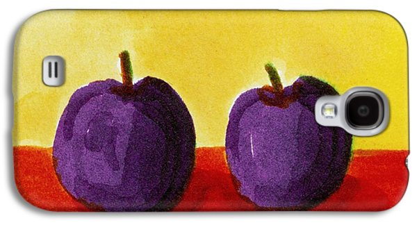 Plum Drawings Galaxy S4 Cases - Two Plums Galaxy S4 Case by Michelle Calkins
