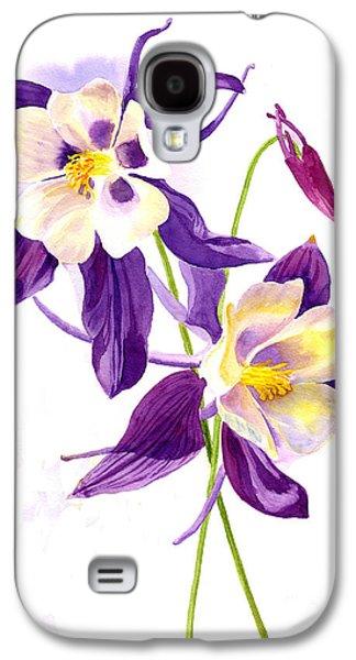 Botanical Galaxy S4 Cases - Two Purple Columbine Flowers Galaxy S4 Case by Sharon Freeman