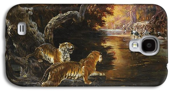 The Tiger Paintings Galaxy S4 Cases - Two Tigers On The Hunt Galaxy S4 Case by Rudolf Ernst