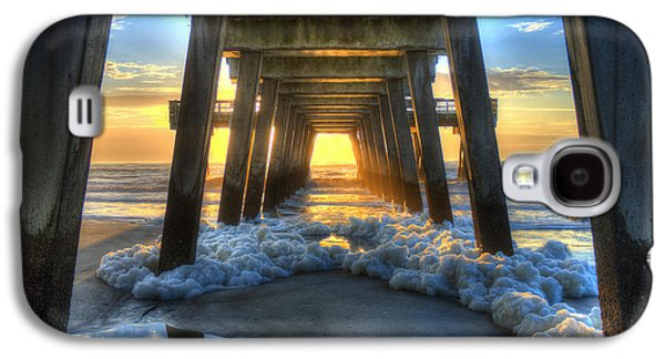 Landscapes Photographs Galaxy S4 Cases - Tybee Island Pier Sunrise Sea Foam Galaxy S4 Case by Reid Callaway