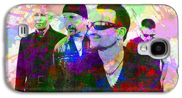 U2 Band Portrait Paint Splatters Pop Art Galaxy S4 Case by Design Turnpike