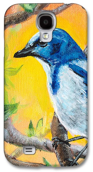 Wildlife Celebration Paintings Galaxy S4 Cases - Ultramarine Flycatcher Bird by Gretchen Smith Galaxy S4 Case by Gretchen  Smith