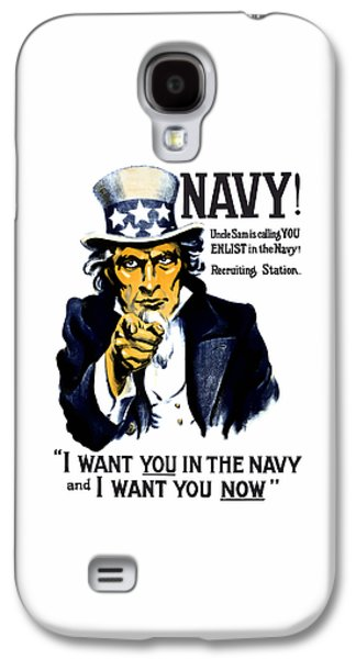 Patriotic Mixed Media Galaxy S4 Cases - Uncle Sam Wants You In The Navy Galaxy S4 Case by War Is Hell Store