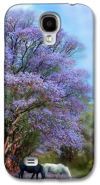 The Trees Mixed Media Galaxy S4 Cases - Under The Jacaranda Galaxy S4 Case by Carol Cavalaris