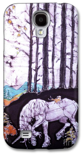 Mystical Tapestries - Textiles Galaxy S4 Cases - Unicorn Rests in the Forest with Fox and Bird Galaxy S4 Case by Carol Law Conklin