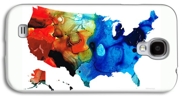 Patriotism Paintings Galaxy S4 Cases - United States of America Map 4 - Colorful USA Galaxy S4 Case by Sharon Cummings
