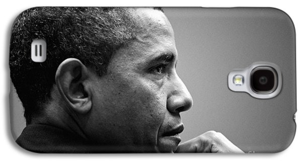 Obama Paintings Galaxy S4 Cases - United States President Barack Obama BW Galaxy S4 Case by Celestial Images
