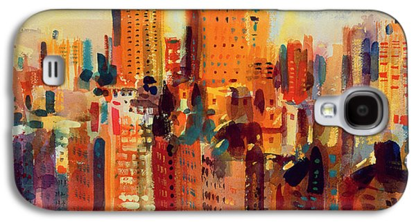 City Scenes Paintings Galaxy S4 Cases - Upper Manhattan Galaxy S4 Case by Peter Graham