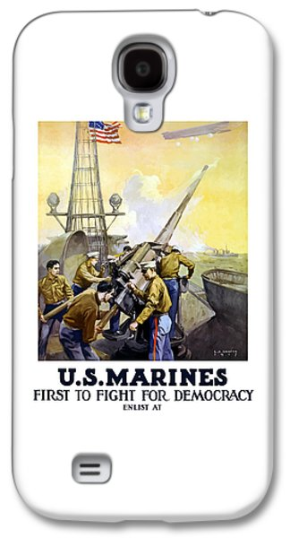 Vet Galaxy S4 Cases - US Marines -- First To Fight For Democracy Galaxy S4 Case by War Is Hell Store