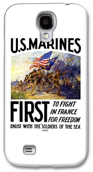 Vet Galaxy S4 Cases - US Marines - First To Fight In France Galaxy S4 Case by War Is Hell Store