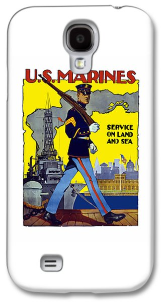 Dressed Galaxy S4 Cases - U.S. Marines - Service On Land And Sea Galaxy S4 Case by War Is Hell Store