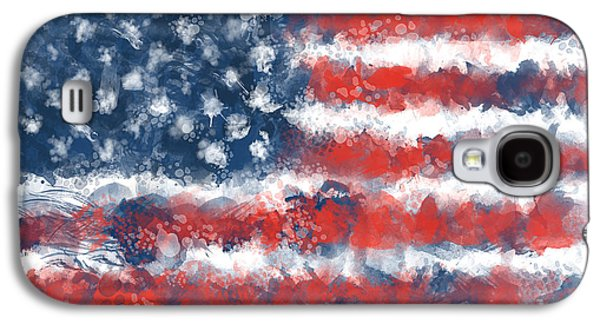 4th July Galaxy S4 Cases - Usa Flag Brush Strokes Galaxy S4 Case by MB Art factory
