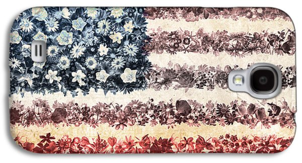 4th July Galaxy S4 Cases - Usa flag floral 3 Galaxy S4 Case by MB Art factory