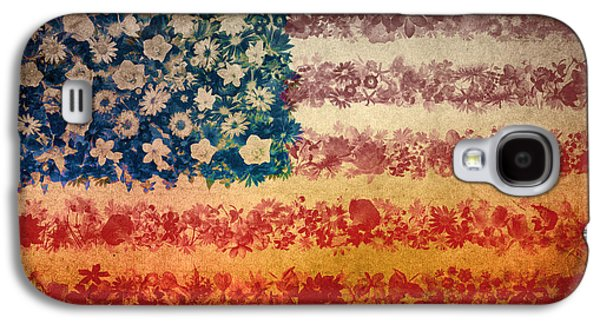 4th July Galaxy S4 Cases - Usa flag floral 4 Galaxy S4 Case by MB Art factory