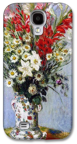 Botanical Galaxy S4 Cases - Vase of Flowers Galaxy S4 Case by Claude Monet
