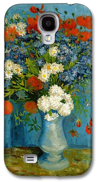 Vase With Cornflowers And Poppies Galaxy S4 Case by Van Gogh