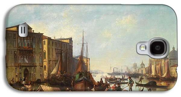Plans Paintings Galaxy S4 Cases - Venetian Scene Galaxy S4 Case by Celestial Images