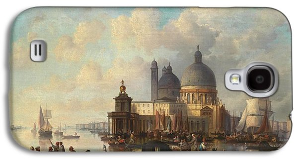 Plans Paintings Galaxy S4 Cases - Venetian Scene with Santa Maria della Salute Galaxy S4 Case by Celestial Images