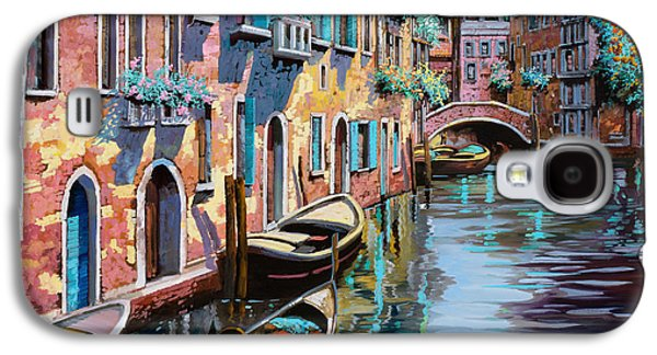 Docked Boat Galaxy S4 Cases - Venezia In Rosa Galaxy S4 Case by Guido Borelli