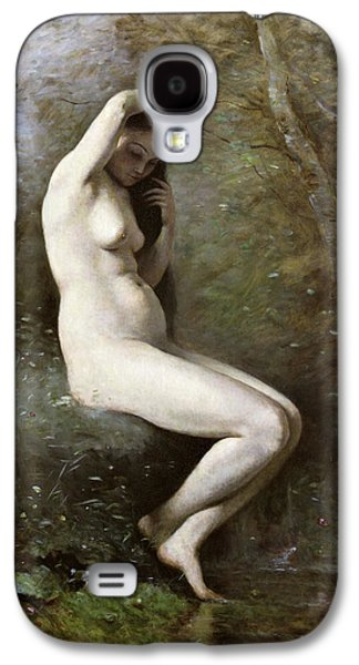 Hair-washing Galaxy S4 Cases - Venus Bathing Galaxy S4 Case by Jean Baptiste Camille Corot