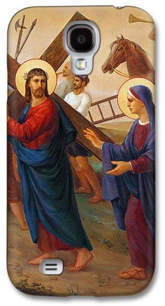 Mother Mary Digital Art Galaxy S4 Cases - Via Dolorosa - Jesus Meets His Mother - 4 Galaxy S4 Case by Svitozar Nenyuk