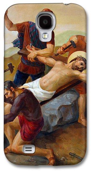 Orthodox Icon Galaxy S4 Cases - Via Dolorosa - Jesus Is Nailed To The Cross - 11 Galaxy S4 Case by Svitozar Nenyuk