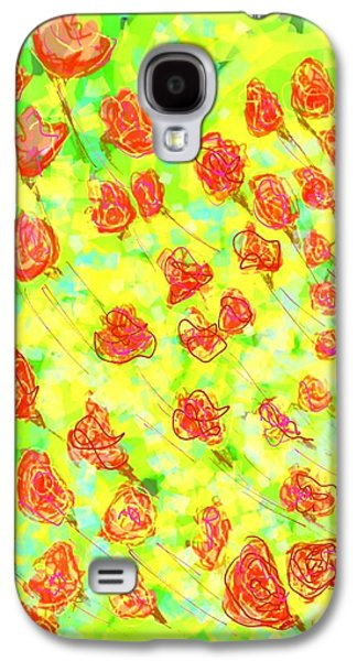 Abstract Digital Digital Galaxy S4 Cases - Vibrant flower Galaxy S4 Case by Khushboo N