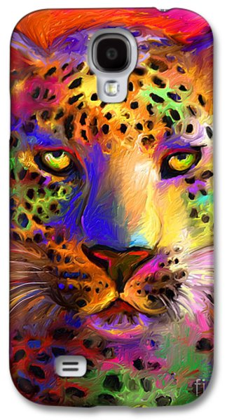 Intense Galaxy S4 Cases - Vibrant Leopard Painting Galaxy S4 Case by Svetlana Novikova