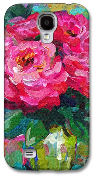 Abstracts Galaxy S4 Cases - Vibrant Peony flowers in a vase still life painting Galaxy S4 Case by Svetlana Novikova