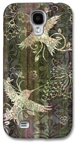 Quilt Galaxy S4 Cases - Victorian Hummingbird Green Galaxy S4 Case by JQ Licensing