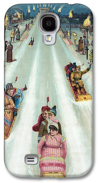 Sledding Galaxy S4 Cases - Victorian Poster of Night Sledding Galaxy S4 Case by American School