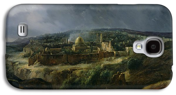 Town Paintings Galaxy S4 Cases - View of Jerusalem from the Valley of Jehoshaphat Galaxy S4 Case by Auguste Forbin