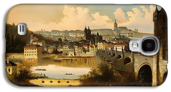 Charles River Paintings Galaxy S4 Cases - View Of Prague With The Charles Bridge Crossing The Vitava River Galaxy S4 Case by Adam August Muller