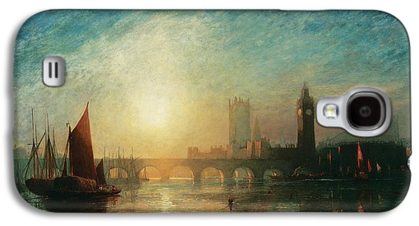 River View Paintings Galaxy S4 Cases - View of Westminster Bridge and the Houses of Parliament Galaxy S4 Case by James Francis Danby