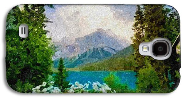Abstract Digital Pastels Galaxy S4 Cases - View On The Mountains From The Lake H B Galaxy S4 Case by Gert J Rheeders