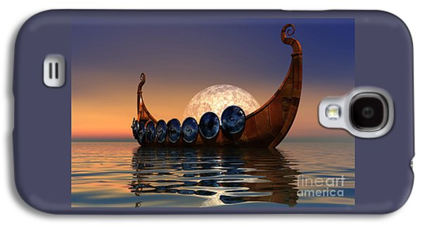 Moon Digital Galaxy S4 Cases - Viking Boat Galaxy S4 Case by Corey Ford