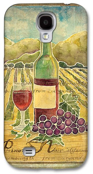Table Wine Galaxy S4 Cases - Vineyard Pinot Noir Grapes n Wine - Batik Style Galaxy S4 Case by Audrey Jeanne Roberts