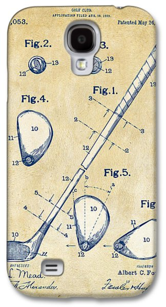 Vintage 1910 Golf Club Patent Artwork Galaxy S4 Case by Nikki Marie Smith
