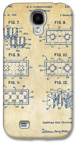 Vintage 1961 Lego Brick Patent Art Galaxy S4 Case by Nikki Marie Smith
