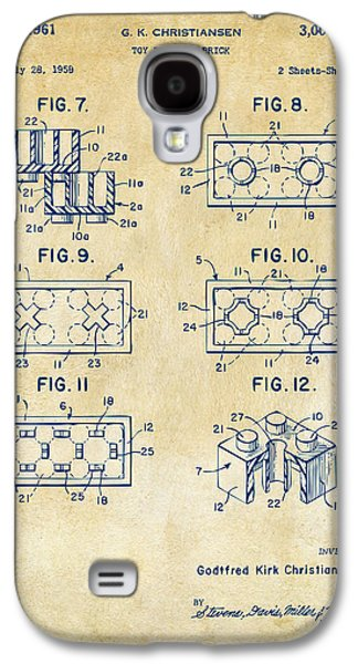 Toys Galaxy S4 Cases - Vintage 1961 LEGO Brick Patent Art Galaxy S4 Case by Nikki Marie Smith
