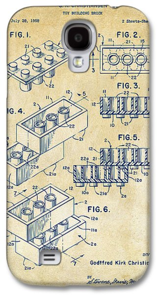 Toys Galaxy S4 Cases - Vintage 1961 Toy Building Brick Patent Art Galaxy S4 Case by Nikki Marie Smith