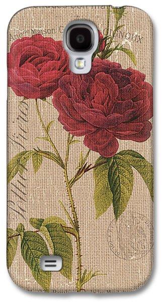 Vintage Burlap Floral 3 Galaxy S4 Case by Debbie DeWitt