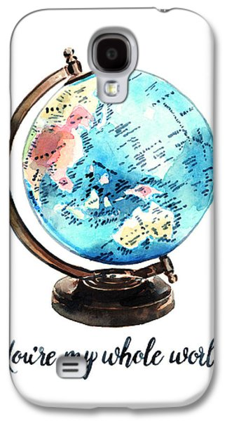 Vintage Globe Love You're My Whole World Galaxy S4 Case by Laura Row