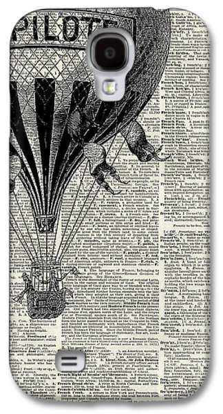 Vintage Hot Air Balloon Illustration,antique Dictionary Book Page Design Galaxy S4 Case by Jacob Kuch