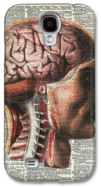 Book Pastels Galaxy S4 Cases - Vintage Human Brain Anatomy Galaxy S4 Case by Jacob Kuch