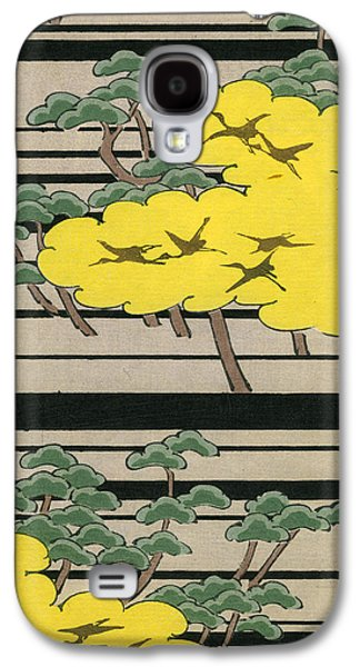 Vintage Japanese Illustration Of An Abstract Forest Landscape With Flying Cranes Galaxy S4 Case by Japanese School