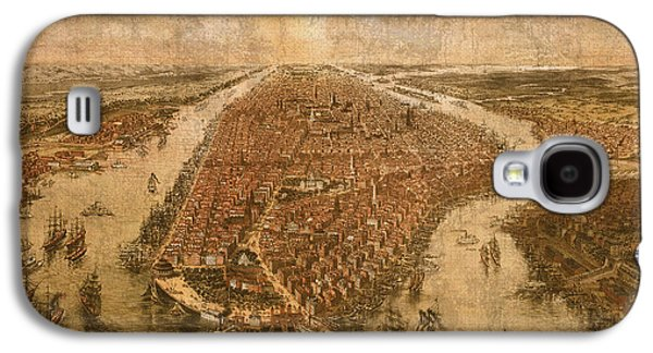 Nyc Mixed Media Galaxy S4 Cases - Vintage Map of Manhattan New York City NYC Birds Eye View Schematic Circa 1865 on Worn Distressed Canvas Galaxy S4 Case by Design Turnpike