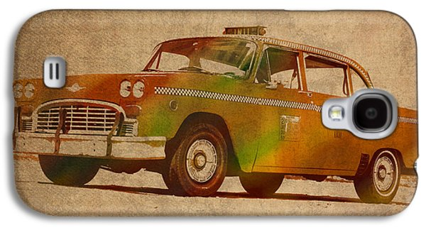 Nyc Mixed Media Galaxy S4 Cases - Vintage New York City Taxi Cab Watercolor Painting on Worn Canvas Galaxy S4 Case by Design Turnpike